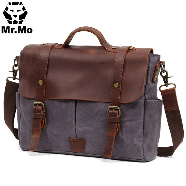fb9fe9f0a6e 2018 Fashion Waxed Canvas Messenger Bag For Men Back to School Man Large Crossbody  Shoulder BookBags For College High School