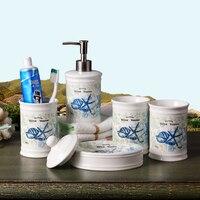 Set de baño Taza de cerámica de tipo mediterráneo para cepillos de dientes  dispensador de loción  conjunto de jabonera  productos de decoración para el baño