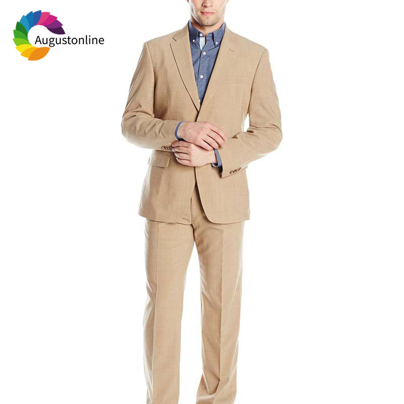 Hot Sale Casual Custom Made Champagne Men Suits Beach Wedding Suits