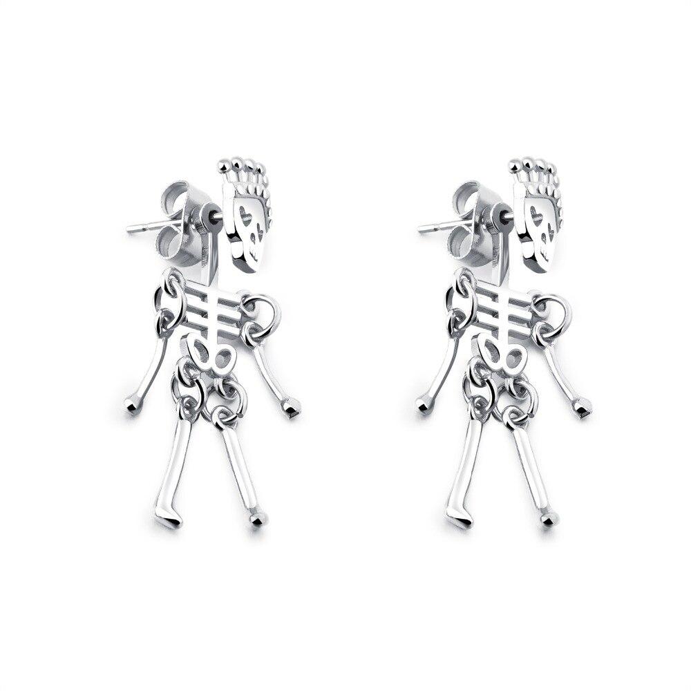 Skull Earrings For Men Stainless Steel Trendy Earings Fashion Jewelry Punk Cool Skeleton Boy Earring Men Jewelry GE424