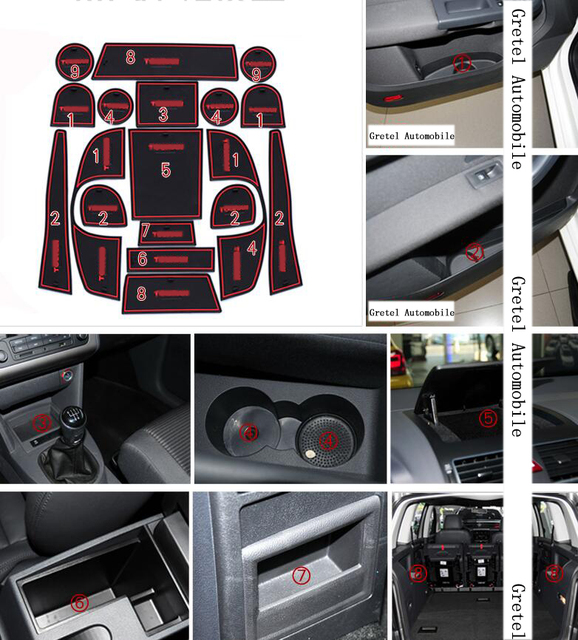 For Volkswagen New Touran 2008-2015 18pcs/set Car anti slip sticker gate pad door carpets Interior cup holder decoration