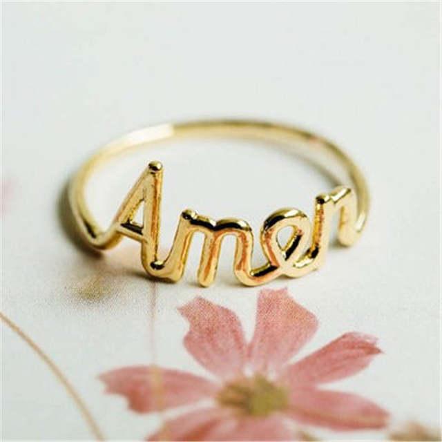 molto carino 23e84 92bb5 US $4.96 29% di SCONTO|Top qualità Amen script lettera anelli Lettere di  colore anelli per le donne in Top qualità Amen script lettera  anelli-Lettere ...