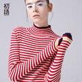 Toyouth 2017 Новое Прибытие Женщины Повседневная Пуловеры Свитера Осень Тонкий Полосатый Свитер С Высоким Воротом Свитера