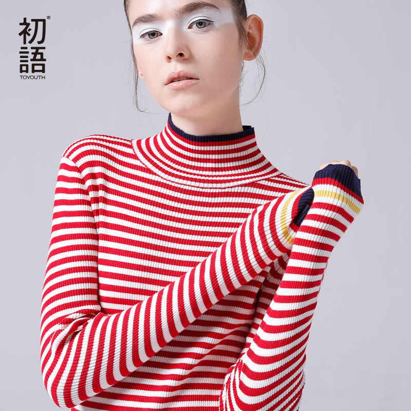 Toyouth 2019 primavera suéteres de cuello alto mujeres delgadas rayas pulóver Hit Color de manga larga suéter Casual manga larga Pull Femme