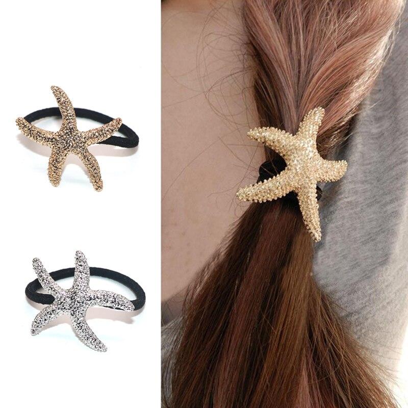 1 X Fashion Metallic Starfish Geometric Stretch Hairband Elastic Hair Band Rope For Women Hair Accessories Hair Ties Gum
