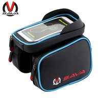 Waterproof Cycling Bicycle Front Bag Touch Screen Bike Bag Tube Frame Bag Pannier Double Pouch For