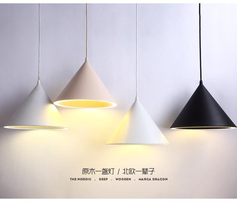 100% De Qualité Luminaire Moderne Pendentif Led Avec Abat-jour En Aluminium Pour Salle à Manger Café Bar Restaurant Lampe Suspendue Cône Nordique Lampadario