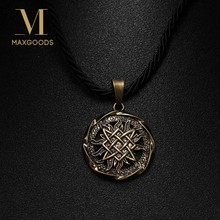 Fashion Norse Vikings Necklece Gold/Silver Color Myth Wolf Rune Amulet Pendant Necklace For Man Luck Blessing Jewelry Wholesale(China)