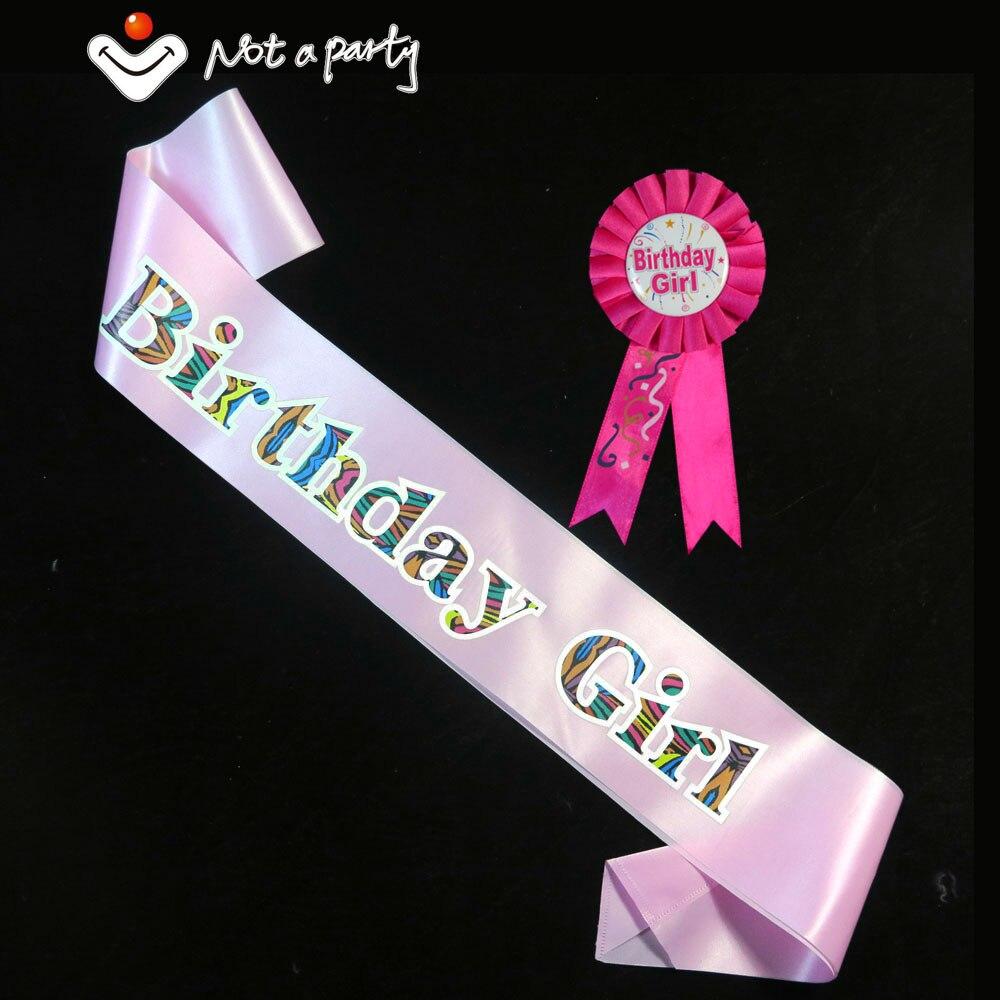 Birthday Girl  Boy Brooch Sash Set Pink Women Blue Men -2858