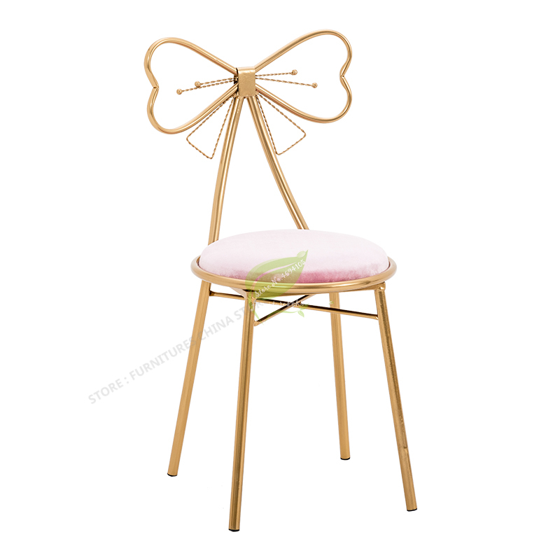 Modern Bar Stool Iron Bar Chair Bar Stool Seat Bar Furniture Beauty Salon Furniture Nordic Teenage Heart Ins Princess Bow Modern