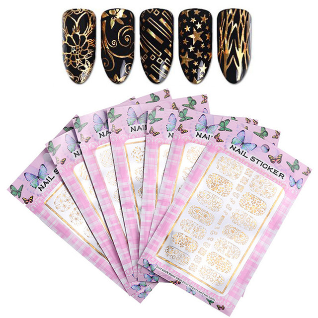 ELECOOL 1Pc Nail Sticker 3D Gold Sticker Decoration Decal Waterproof Long Lasting Nail Patch Water Slide Nails Stickers Manicure