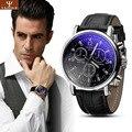 Imitación de Cuero de moda Para Hombre Analógico Cuartos Reloj Blue Ray Hombres Relojes de pulsera 2015 Relojes Para Hombre de Primeras Marcas de Lujo Reloj Ocasional hombre