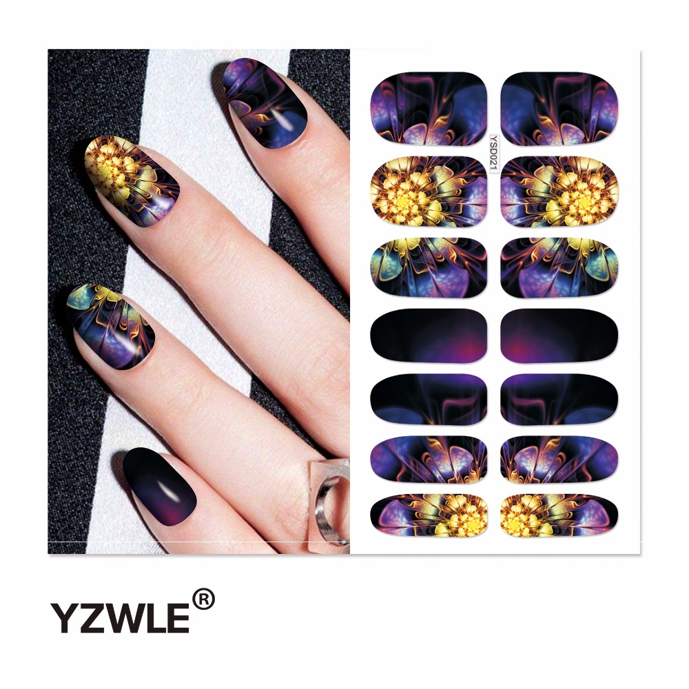 YZWLE 1 Sheet Water Transfer Nails Art Sticker Manicure Decor Tool Cover Nail Wrap Decal (YSD021) yzwle 1 sheet cartoon watermark water transfer design nail art sticker nails decal manicure tools