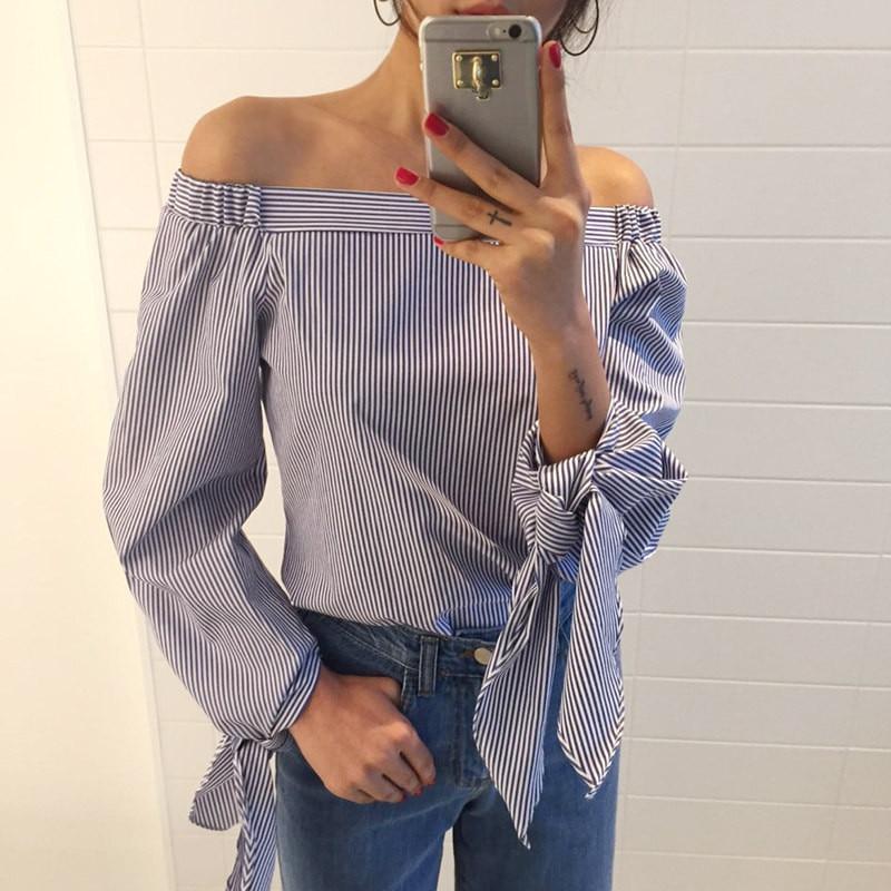 Nuevas Blusas de Moda 2017 Más El Tamaño Sexy Bow Hombro Mujeres Blusas Camisas Casual Todo-Fósforo de la Raya Vertical de Cuello de Manga Larga Tops