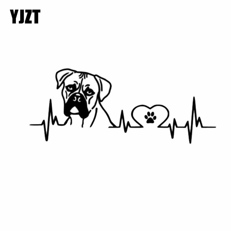 YJZT 18CM*7.3CM  Boxer Love Pules Vinyl Decoration Car Sticker Black/Silver C2-3259