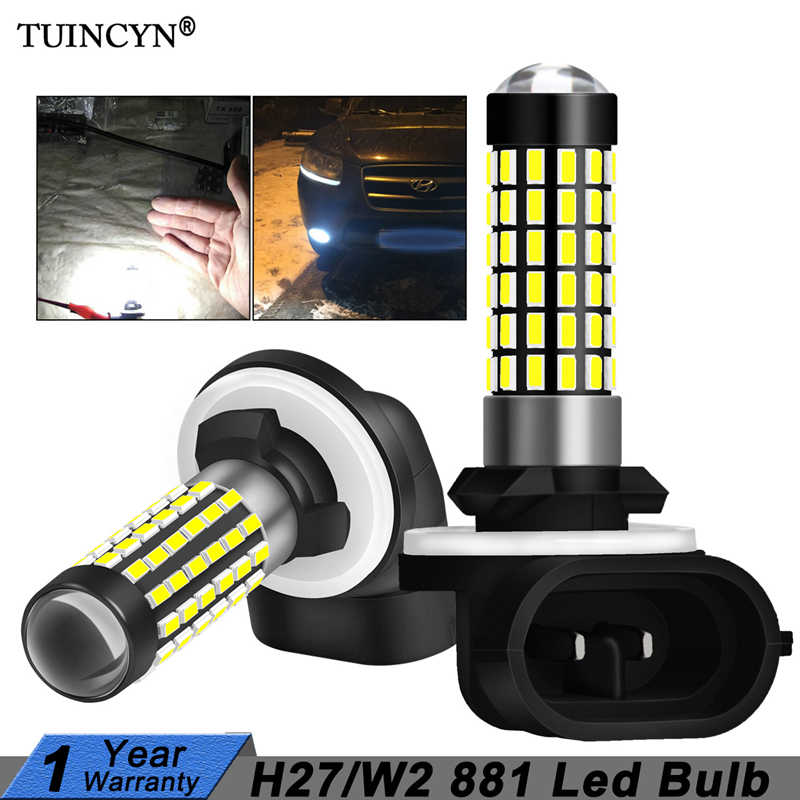 TUINCYN 2pcs H27W/2 881 Led Bulbs Fog Lights for Cars Led Fog Driving Lamp High Lights Car Light Sourse 6000K White H27W H27 Led