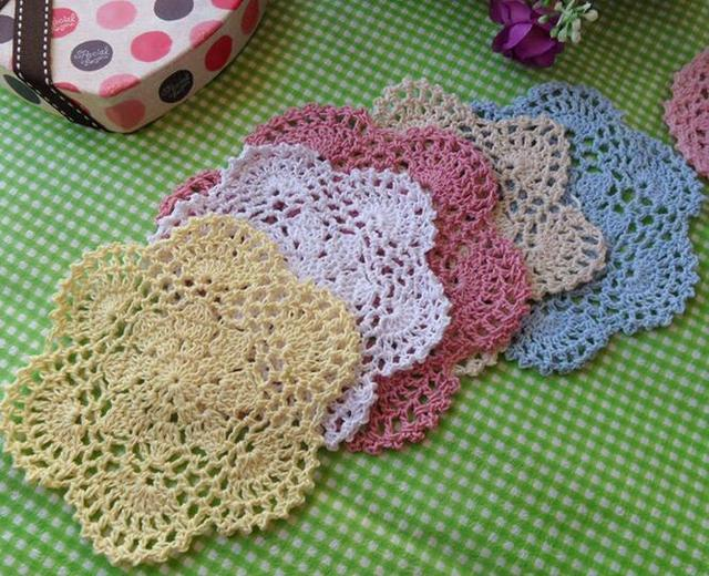 Nice Diy Crochet Table Place Mat Cloth Lace Cotton Placemat Mug Cup