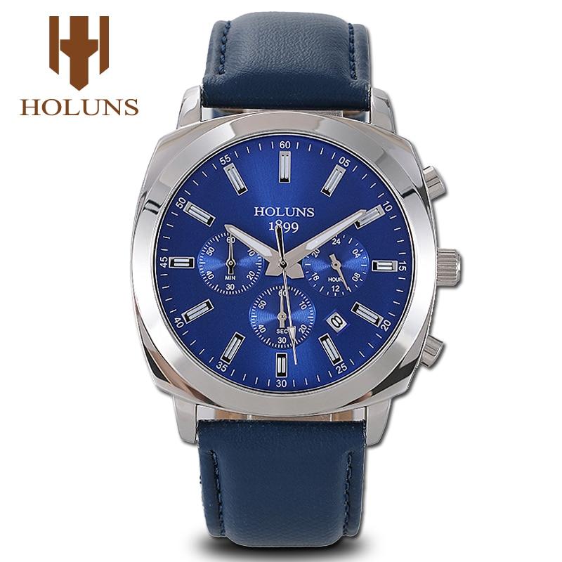Relojes Hombre 2019 Watch Men Fashion Casual Wristwatches Blue For Male Students Big Face Leather Quartz