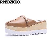 a2db8e9d6 Senhoras marca designer chinelos verão slides couro flatforms sapatos mulas sandálias  sandálias de cunha mulheres 2018