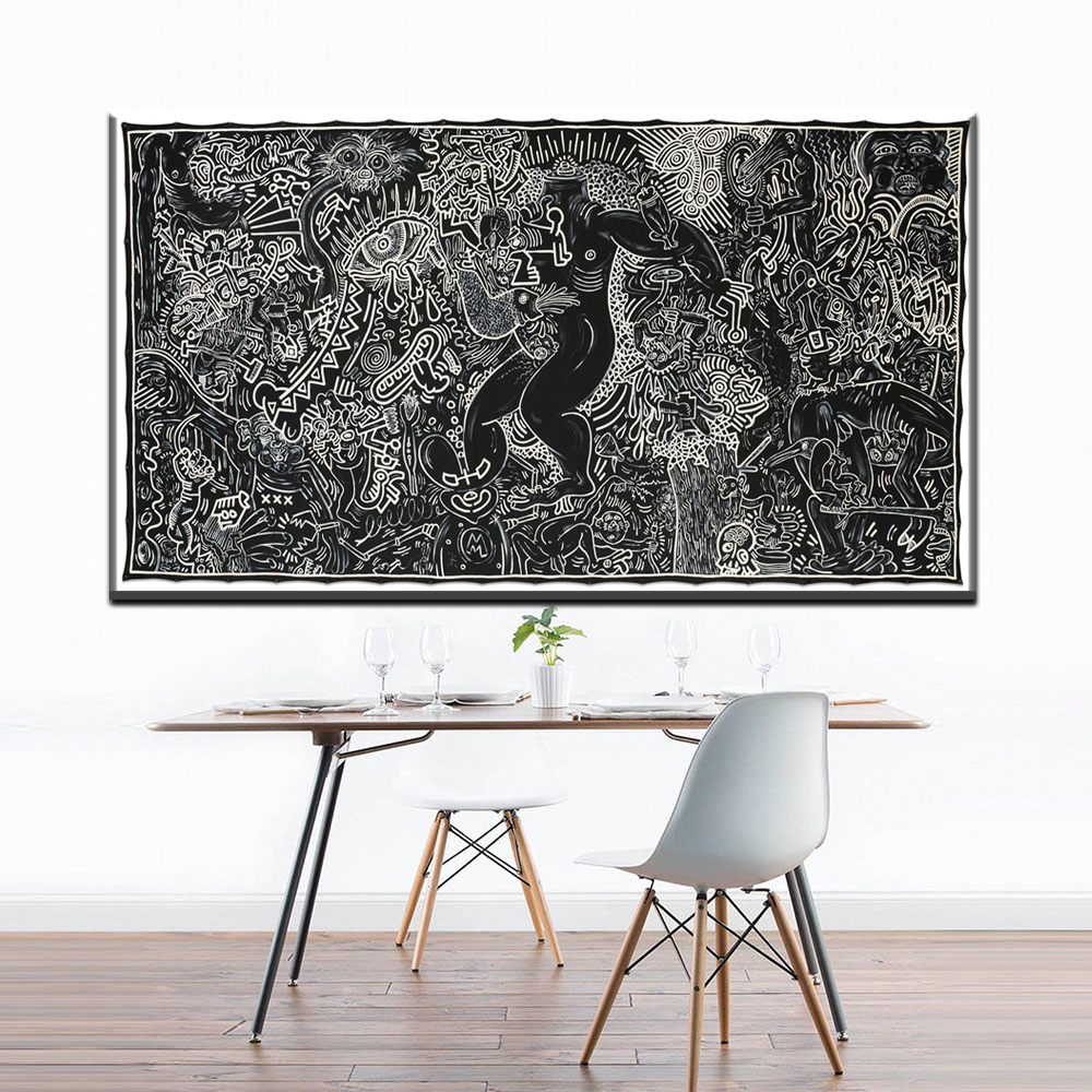 ZZ1388 modern black white canvas art keith haring famous oil paintings on canvas wall pictures for livingroom bedroom decoration