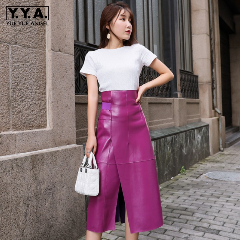 Women Fashion Purple High Waist Mid Calf Skirt Party A-Line 100% Sheepskin Real Leather Skirt Office Ladies Wrap Mid Long Skirts