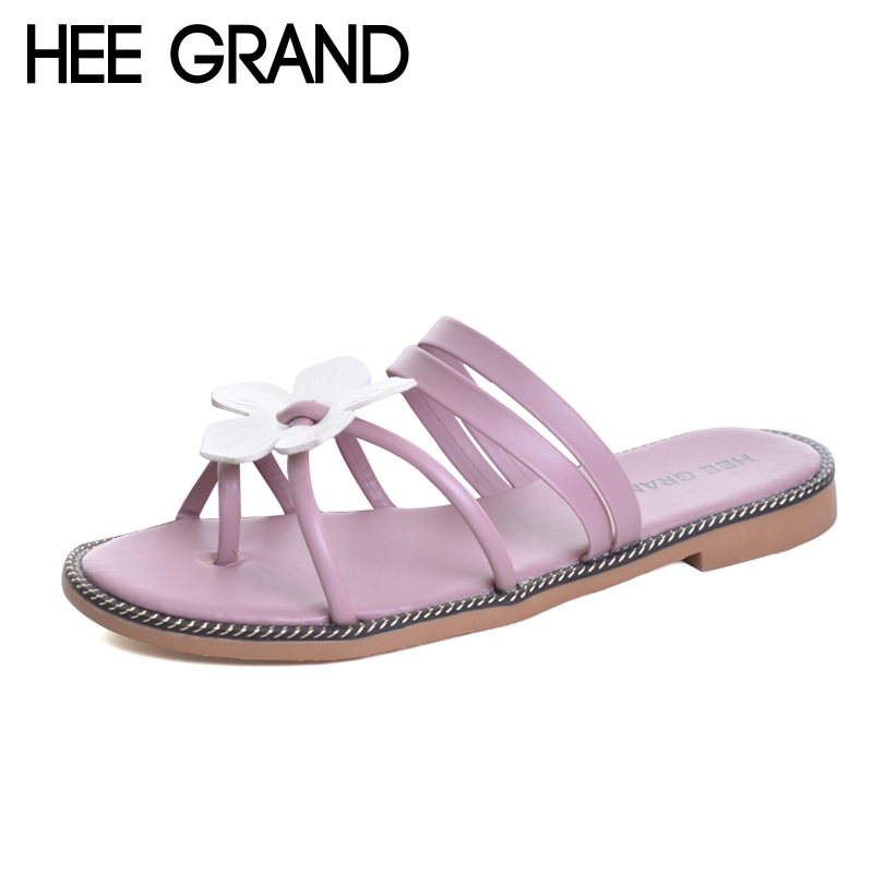 HEE GRAND Summer Beach Flip Flops Flowers Gladiator Sandals Gold Casual Flats Shoes Woman Slip On Women Shoes 4 Colors XWZ3841 hee grand summer gladiator sandals 2017 new beach platform shoes woman slip on flats creepers casual women shoes xwz3346
