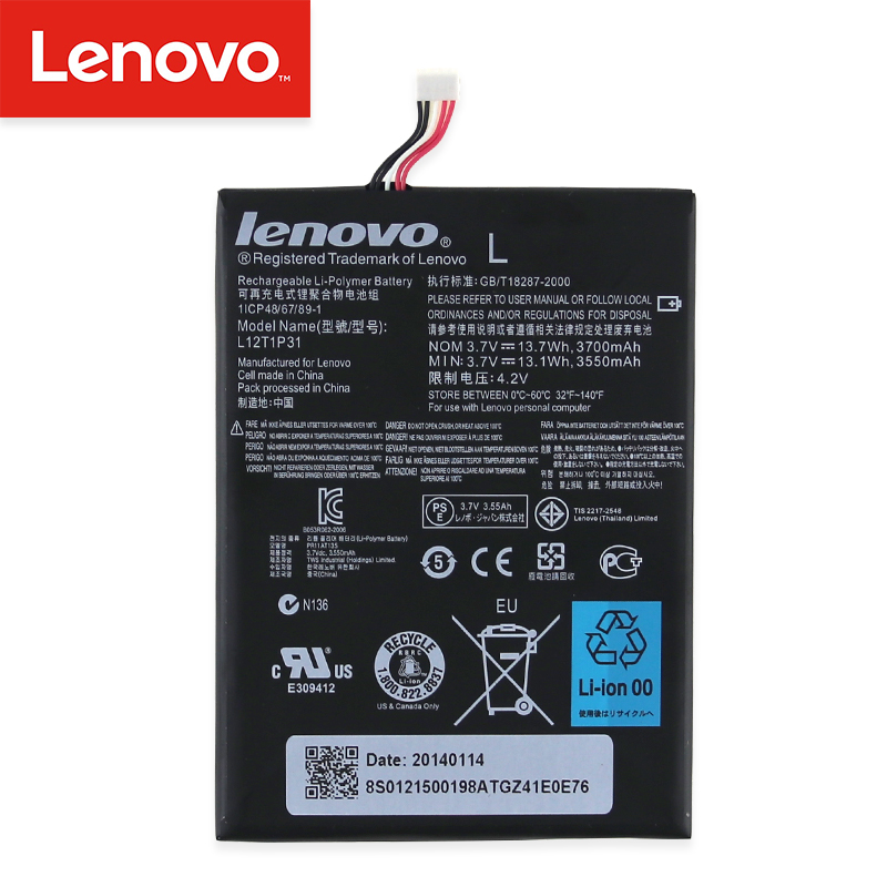 Original  3550mAh/13.135Wh 3.7V L12T1P31 tablet mobile Battery For Lenovo A2107 A2207 BL195 Phone Rechargeable Battery InbuiltOriginal  3550mAh/13.135Wh 3.7V L12T1P31 tablet mobile Battery For Lenovo A2107 A2207 BL195 Phone Rechargeable Battery Inbuilt