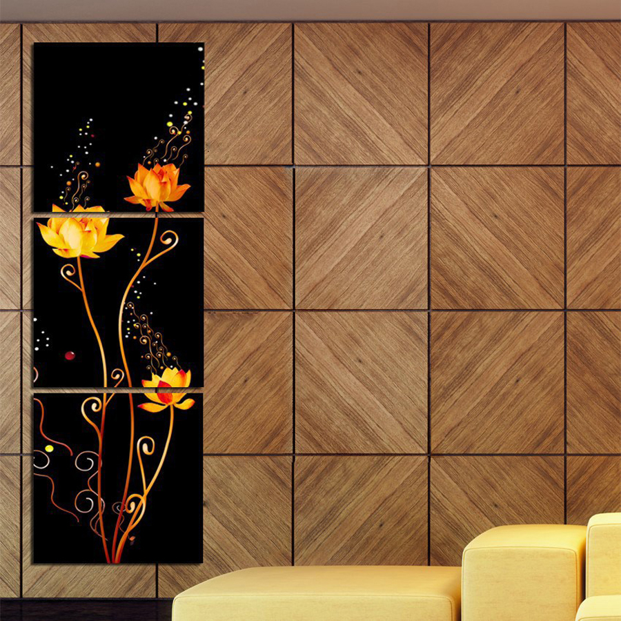 3 Piece Canvas Wall Art Modern Flowers Canvas Paintings Dinning Room Decorative Pictures HD Prints With Framed F-160