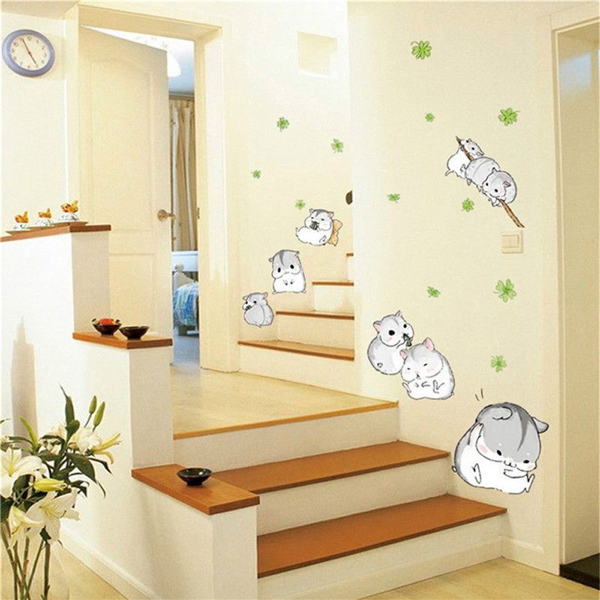 Wallpaper Sticker Cute Hamsters Playing Wall Sticker Kid Bedroom Lovely Pet Decal 50*70 Wallpapers For Living Room 2018 B#