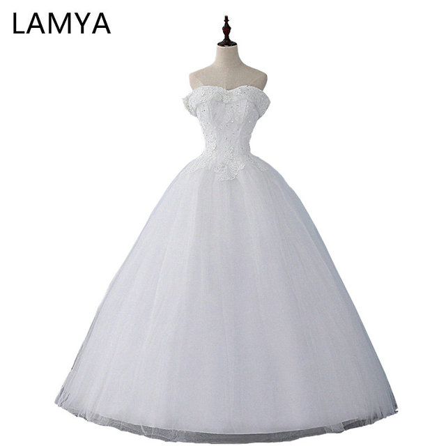 LAMYA תחרה V צוואר שמלות כלה 2019 תמונה אמיתית שמלות כלה זול שנהב טול כדור שמלת בתוספת גודל גלימת דה mariage
