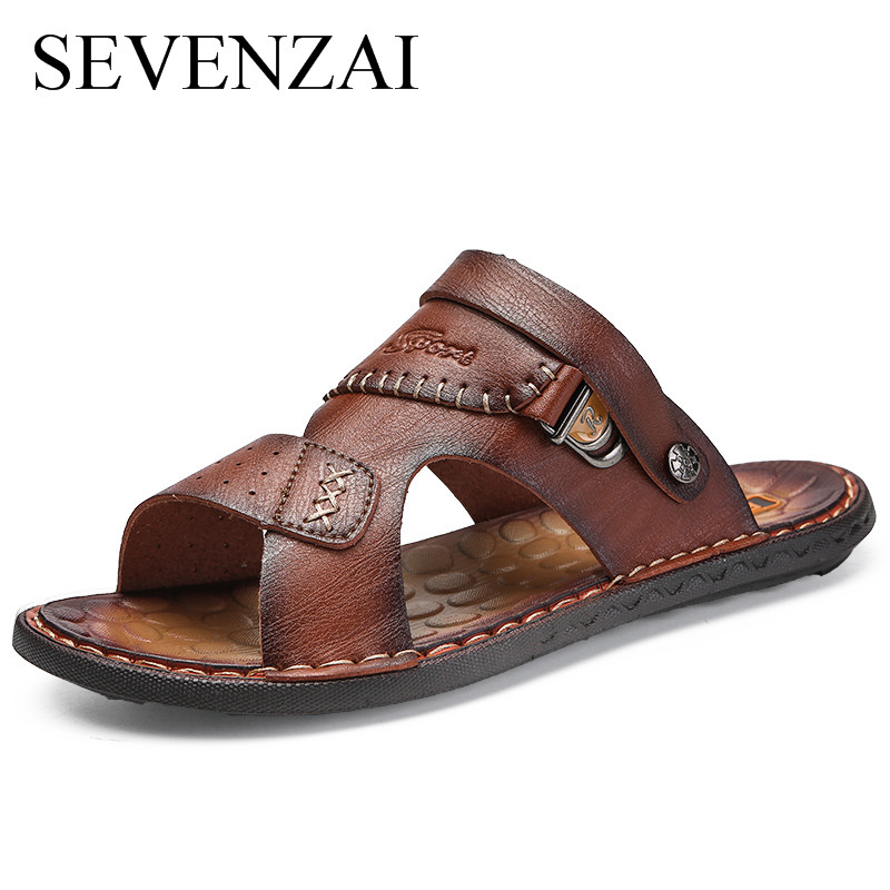 Summer Men 2018 Fashion leather slides male footwear Luxury brand Slippers Breathable Sa ...