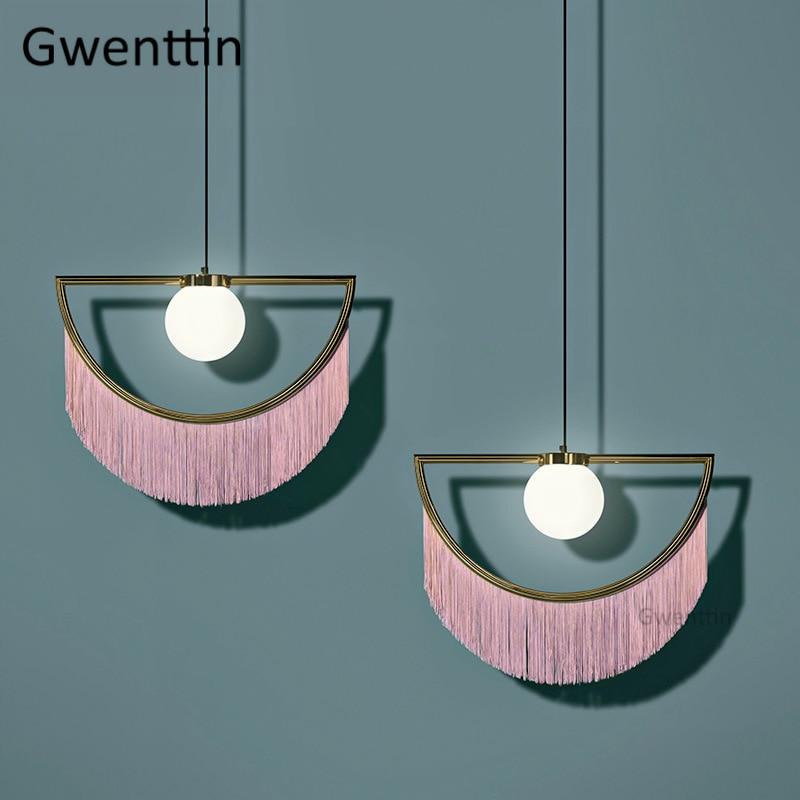 Lampe pendante en soie gland verre moderne Led lumières suspendues pour salon chambre cuisine luminaires Luminaire Art de la maison décor