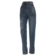 ME&SKI Women Fashion Skinny Full Length High Waist Elastic Jeans Zipper Fly Retro Stretchy Blue Denim Pants
