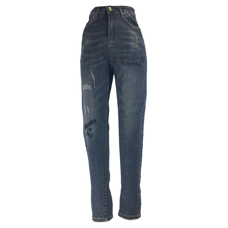 Ehrgeizig Mich & Ski Frauen Mode Dünne Voller Länge Hohe Taille Elastische Jeans Zipper Fly Retro Stretchy Blau Denim Hosen Jeans