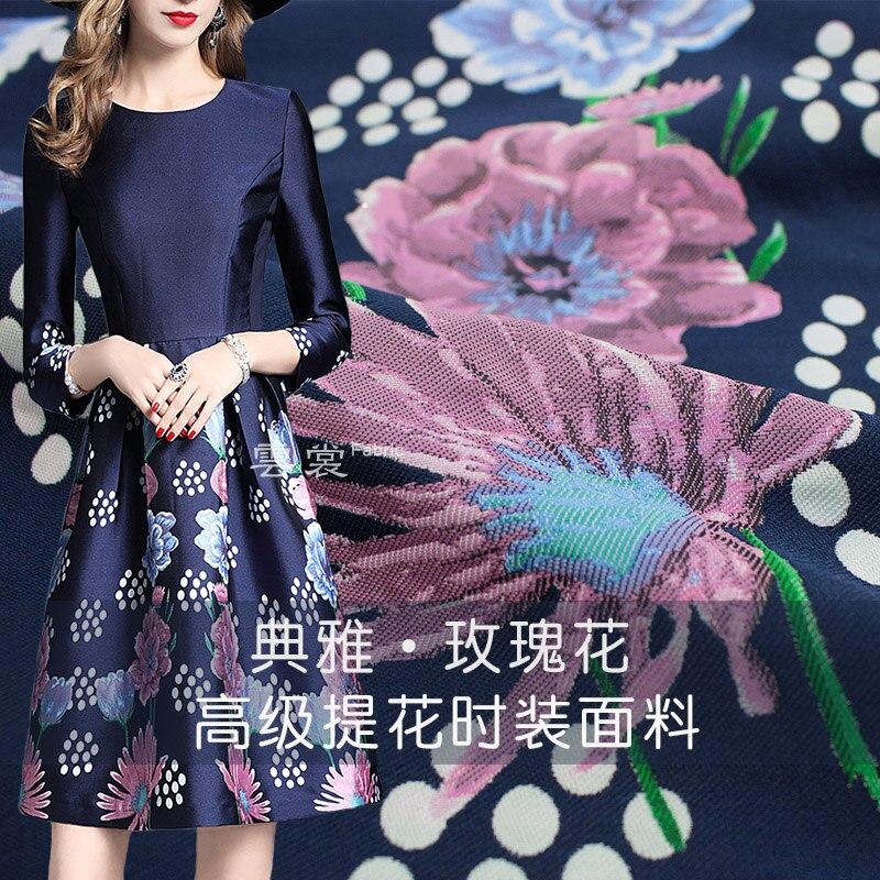 148 cm rose jacquard tissu marque italienne teint en fil mode cheongsam robe jacquard tissu matériel en gros tissu