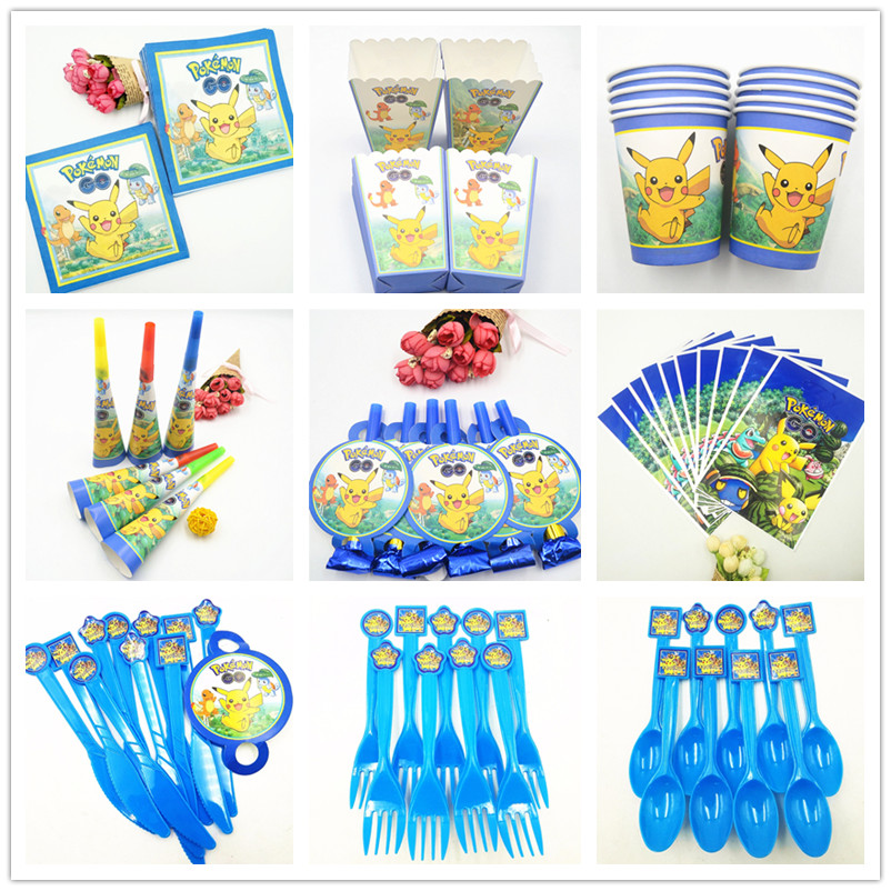 Pikachu Pokemon Birthday Party Supplies Tablecloth Napkin Cups Plates Gift Fork Spoon Theme Birthday Decorations Favors Baby Kid