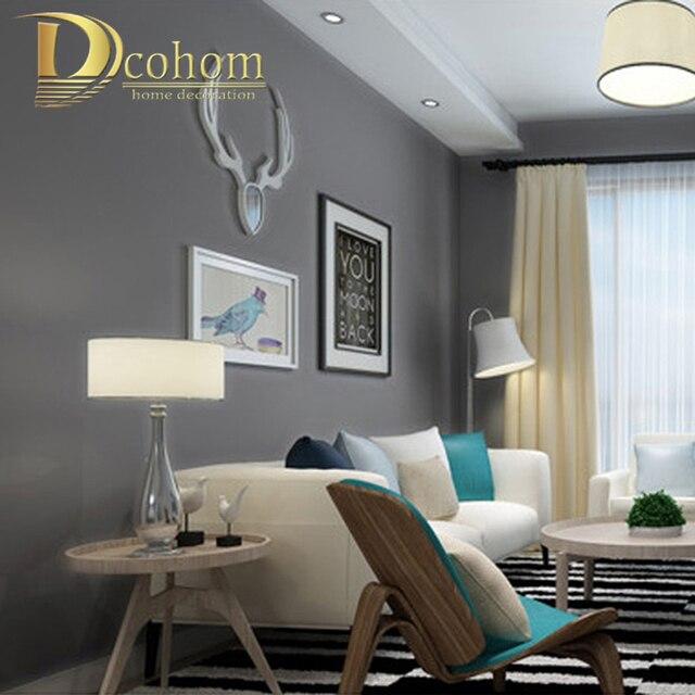 Minimalist Solid Color Modern Wallpaper For Walls Bedroom Living Room TV Sofa Deep Grey Background Nonwoven