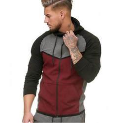 2018 для мужчин молния Сращивание Цвет пуловер с длинным рукавом Верхняя одежда капюшоном топы корректирующие куртка
