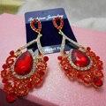 Bouquet Women Dangle Earrings Red Hook Drop Crystal Earrings For Women Drop Earring Wedding Accessories Bridal Jewelry