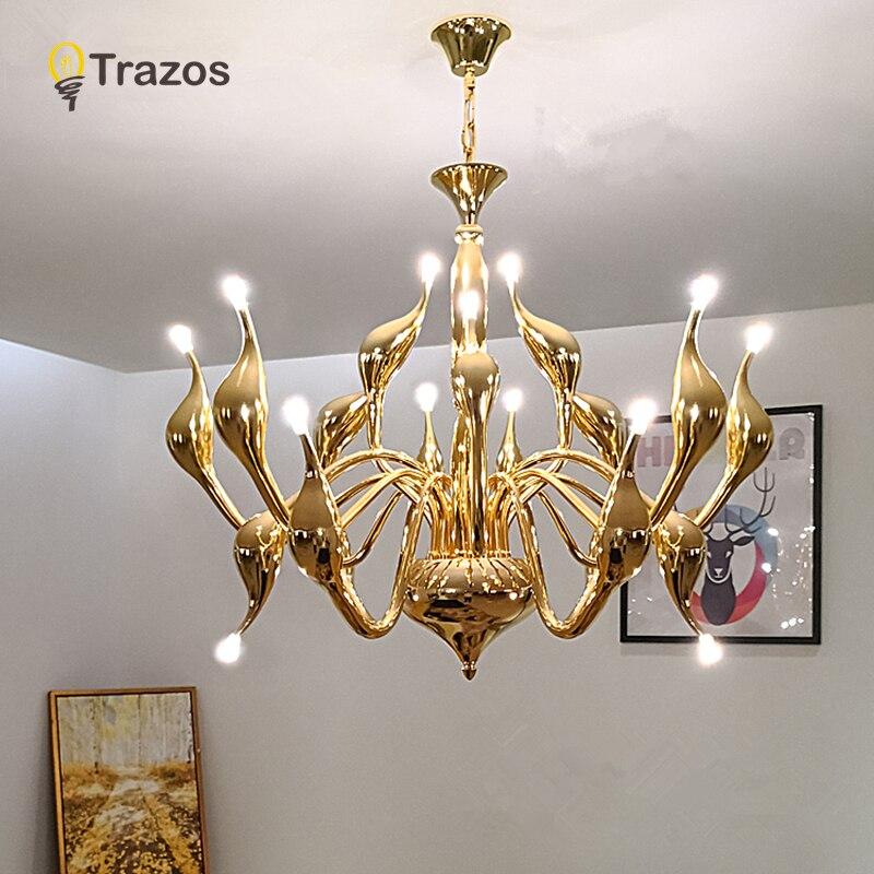 2019 déco européen cygne lustres bougie cristal LED lustre plafond chambre salon moderne décoration G4 éclairage