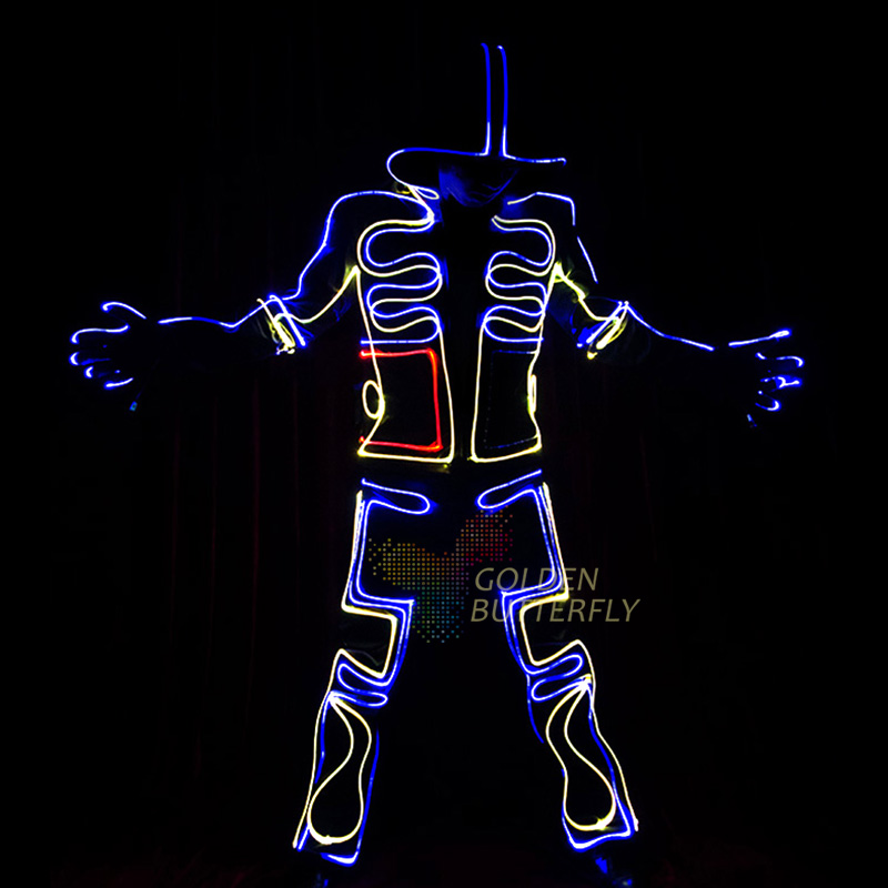 LED Suits Luminous Costumes Illuminated Glowing Hooded Men EL Clothes Cold Strip Dance Fashion Talent Show LED Light Clothing