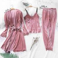 3pcs Pajamas Women Sexy Pajama Suit Pyjamas For Women Night Suit 1550