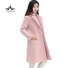 Leiouna Fashion Lamb Wool Blends Thick Warm Large Lapel Snow Wear Parkas Cotton Long Cashmere Coat Women Winter Outwear