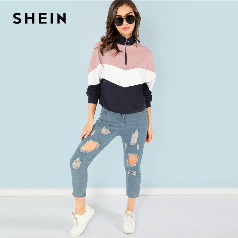 28eb3e3f3c2 Multicolor O-Ring Zip Front Cut and Sew Sweatshirt Athleisure Stand Collar  Raglan Sleeve Sweatshirt Women Autumn Pullovers