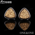 Free Shipping Triangle 8mm 24K gold Natural Agate Druzy Earring Drusy Stud Earrings stainless steel