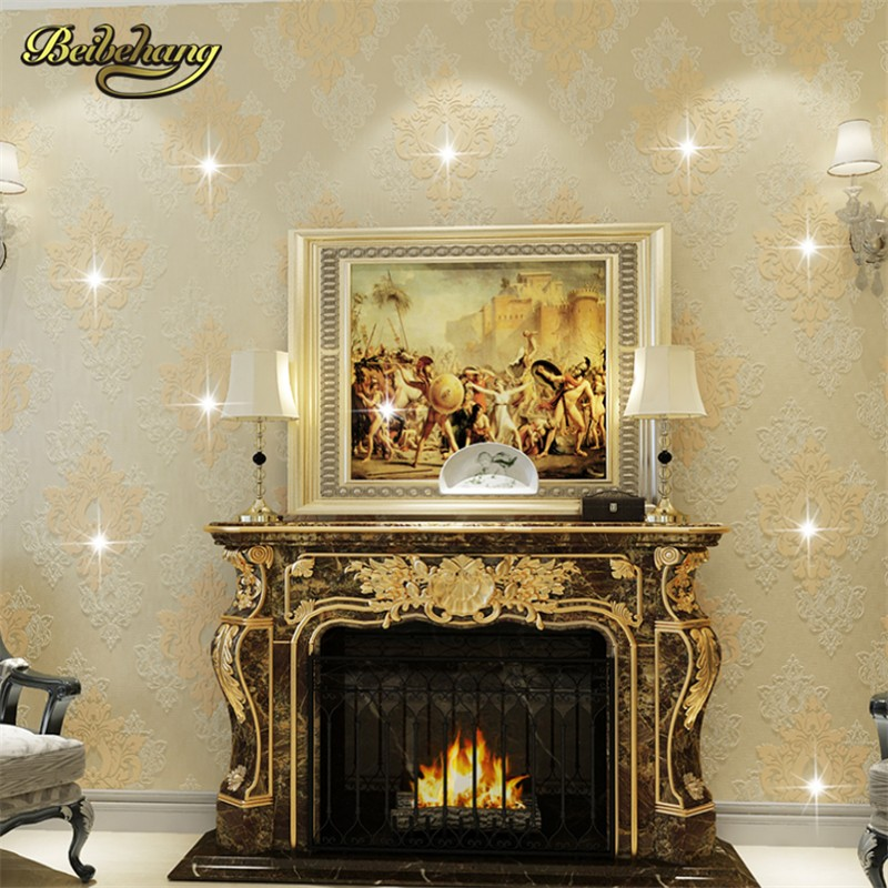 Beibehang luxury diamond crystal 3d wallpaper 3d flocking for Luxury 3d wallpaper