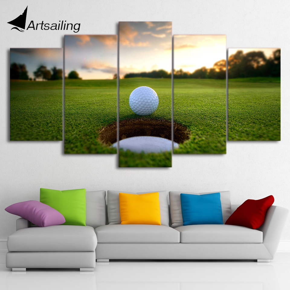 hd printed 5 piece canvas art golf course leisure sport. Black Bedroom Furniture Sets. Home Design Ideas
