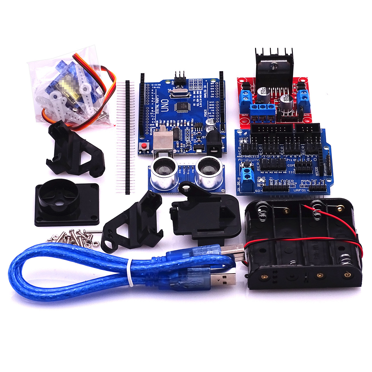US $16 2  New Avoidance tracking Motor Smart Robot Car Chassis Kit Speed  Encoder Battery Box 2WD Ultrasonic module For Arduin kit-in Electronics