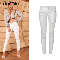 2018 Streetwear Faux Leather Pants for Women White Elastic Leather Pants Girls Fashion Moto & Biker Trousers Skinny Pencil Pants