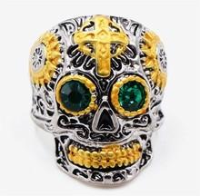 Gothic Gold Carving Kapala Skull Mask Ring Biker Hiphop Rock Jewelry Unique Fashion  Gift Cross Skull c018de073eca